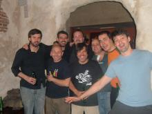 Antonio de Pinto, Matías Ávalos, Rafa Mora, Rubén Buren, Luis Felipe Barrio, Claudio H, Moncho otero y Pedro Herrero