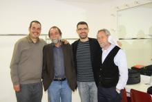 Con Pablo Guerrero y Manuel López Azorín en los camerinos de La Esfera en San Sebastián de los Reyes